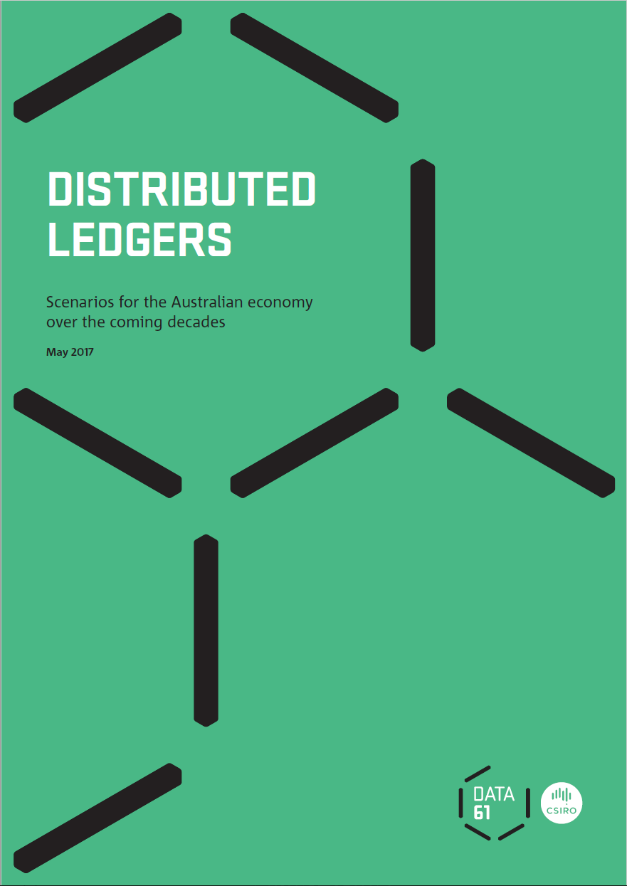 "Front cover of ""Distributed Ledgers"" report"