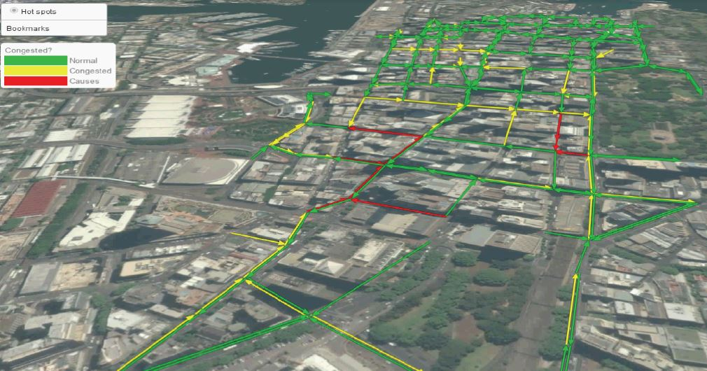 Map of city with green yellow and red overlay of traffic on streets