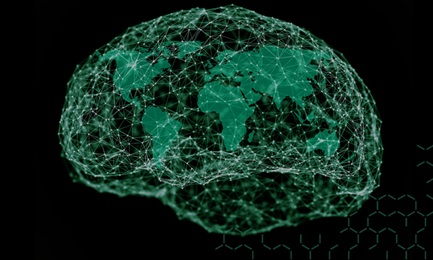 Illustrated brain and networked global map
