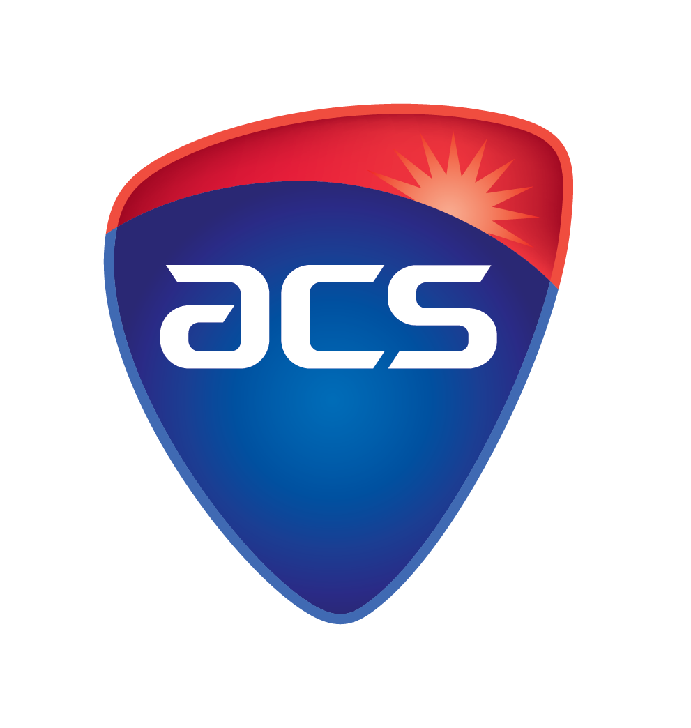 A blue and red disc shaped logo with the letters ACS in white.