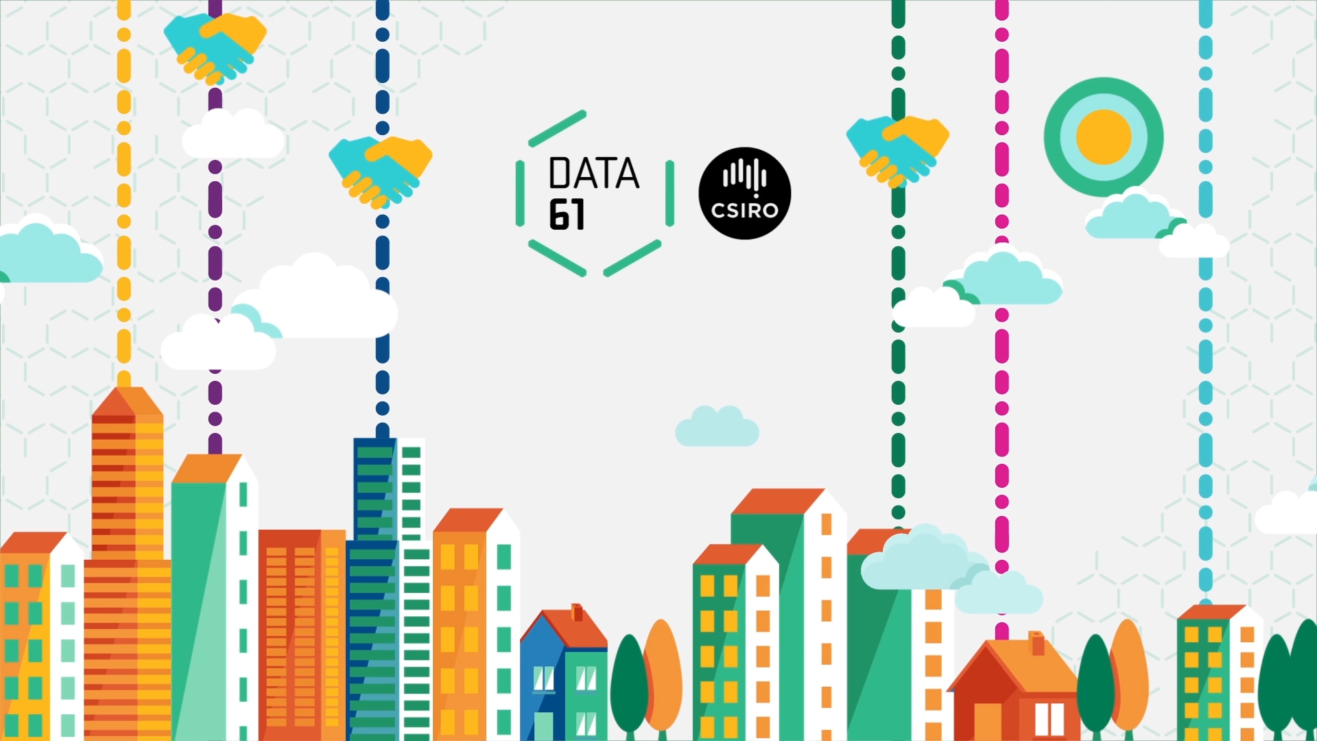 A skyline with the Data61 logo and visualisation of the blockchain process