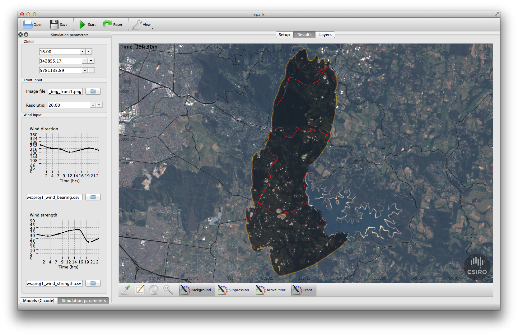 Screenshot of Spark bushfire prediction software showing a map overlay of predicted bushfire spread based on the input of environmental data via the tables on the right hand side.