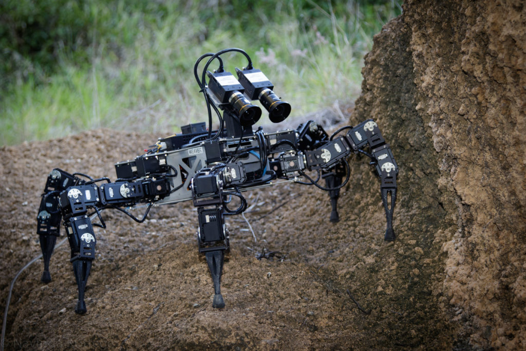 Legged robot on an incline in outdoors environment